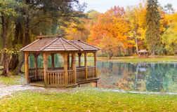 gazebo on the lake park Royalty Free Stock Images