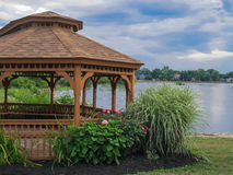 Gazebo Landscape. Landscaped garden Gazebo with lake in background Royalty Free Stock Photos
