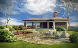 Gazebo in landscaped garden. Gazebo in landscaped green backyard Royalty Free Stock Photography