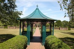 Gazebo in large garden. With footpath and hedge Stock Images