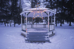 Gazebo with lights on in fresh snow in New Jersey at Christmas time Royalty Free Stock Photo
