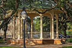 Gazebo located in White Point Gardens on the Battery in historic Charleston South Carolina. Gazebo or Bandstand located in White Point Gardens on the Battery of royalty free stock images