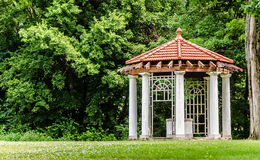 Gazebo at the Longview Farm Mansion. This beautiful landscaping is on the estate of the Longivew Farm and Mansion in Lees Summit Missouri Stock Photo
