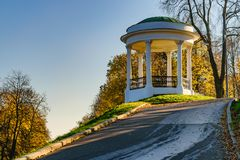 Gazebo for lovers on the hill. The old Governor`s gazebo stands on the embankment of the Volga river in Yaroslavl stock images