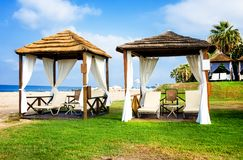 Gazebo on Mediterranean beach in summer. Gazebo on Mediterranean beach, Cyprus Royalty Free Stock Images
