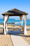 Gazebo on Mediterranean beach, Paphos. Cyprus. Gazebo on Mediterranean beach, Paphos Royalty Free Stock Image
