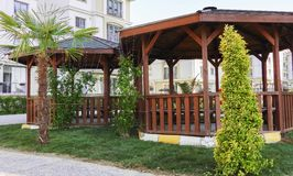 Gazebo in the middle of a garden in istanbul. Turkey stock image