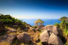 Gazebo on the mountain view to the sea Royalty Free Stock Photos