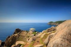 Gazebo on the mountain view to the sea Stock Image