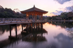 Gazebo in Nara Park, Japan. A floating pavilion in Nara Park, the ancient capital of Japan on a background of the setting sun Stock Photos