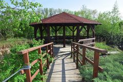 Gazebo in Nature Bridge Stock Photo royalty free stock photos