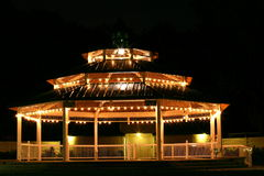 Gazebo at Night. This is a photograph of the well lit and empty gazebo in downtown Safety Harbor, Florida shot at night Stock Photos