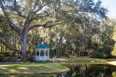 Gazebo and Oak Tree by Lake Royalty Free Stock Image
