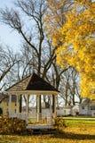 Gazebo- och lönnträd med stupade sidor Royaltyfri Foto
