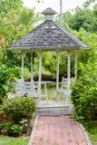 Gazebo Outdoor Wood in the garden Stock Photos