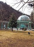 Gazebo over the fountain with warm mineral water in Borjomi stock photo
