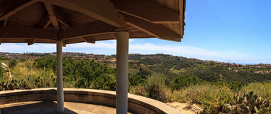 Gazebo over Newport Coast hiking trail near Crystal Cove Stock Photos
