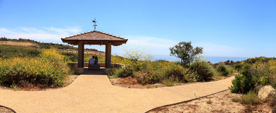 Gazebo over Newport Coast hiking trail near Crystal Cove. California in spring stock photo