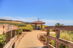 Gazebo over Newport Coast hiking trail near Crystal Cove Stock Image