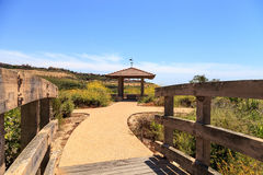 Gazebo over Newport Coast hiking trail near Crystal Cove Royalty Free Stock Image