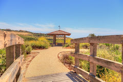 Gazebo over Newport Coast hiking trail near Crystal Cove. California in spring royalty free stock photography