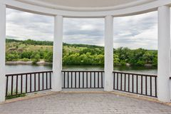 Gazebo over the river. Gazebo overlooking the river and the opposite shore Stock Image