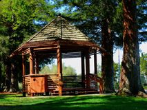 Gazebo in the park. Wooden gazebo in a park in California. Huge Redwood trees provide shade and green grass in foreground. Nice afternoon sun Royalty Free Stock Photography