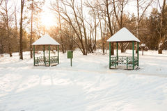 Gazebo in the Park during Winter Stock Image
