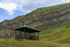 A gazebo for relaxing in the mountains Stock Image