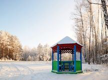 Gazebo by the road in a white fairy-tale winter. Gazebo by the road in a white fairy-tale winter Royalty Free Stock Images