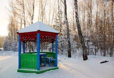 Gazebo by the road in a white fairy-tale winter. Gazebo by the road in a white fairy-tale winter Stock Photography