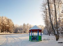 Gazebo by the road in a white fairy-tale winter. Gazebo by the road in a white fairy-tale winter Stock Images