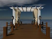 Gazebo romantico di cerimonia nuziale sul mare Immagine Stock