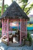 Gazebo rosado del Caribe imagenes de archivo
