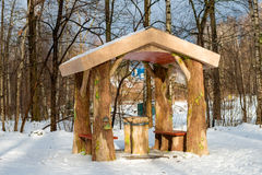 Gazebo in the Russian forest Royalty Free Stock Photo