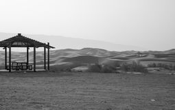 Gazebo amidst Dunes. Gazebo in the sand dunes in Al Ain, UAE royalty free stock images