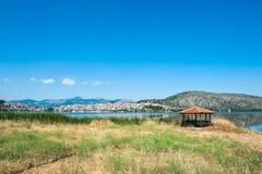 Gazebo by the sea, orange paradise on the lake stock image