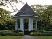 Gazebo. Singapore - July 2016  This gazebo in the Singapore Botanic Gardens is known as the BandStand. This structure was built in 1930 and evening performances Stock Photography