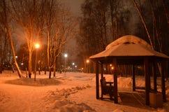 Gazebo in the snow. stock images