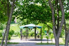 Gazebo in the spring park stock image