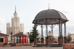 Gazebo and Stalinist skyscraper Stock Images