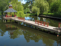 Gazebo on the Stangan river. Linkoping. Sweden stock photo