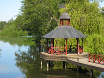 Gazebo on the Stangan river. Linkoping. Sweden royalty free stock photo