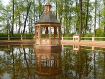 The gazebo in the Summer garden. Saint-Petersburg. Russia. Gazebo and pond in the Summer garden center of St. Petersburg in Russia stock image