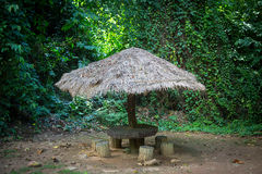 Gazebo with a thatched roof in the jungle. Green Stock Image