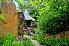 Gazebo to relax in the jungle dozhdevuh Yanoda, China Stock Image