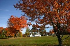 Gazebo in toneel de herfstpark Stock Foto's