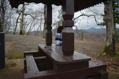 Beautiful view of the gazebo overlooking the mountains. stock photo