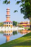 Gazebo tower and china palace in Bang Pa In Park vertical view A Stock Photo