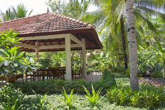 Gazebo in tropical park Stock Image